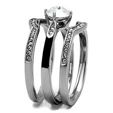 stainless steel wedding sets titanium bands for his 4pc silver black stainless steel