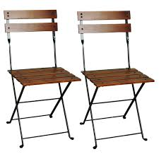 Folding Bistro Chairs European Folding Chestnut Wood Side Bistro Chair Set Of 2