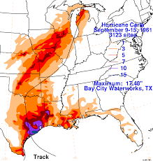 Rainfall Map United States by Hurricane Carla 50th Anniversary