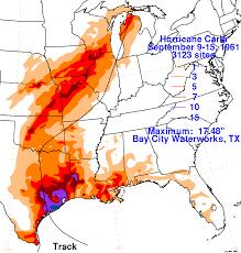 Louisiana Weather Map by Hurricane Carla 50th Anniversary