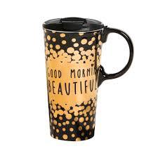 cypress home good morning beautiful ceramic travel coffee mug 17