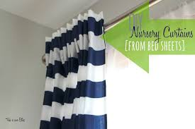 Diy Nursery Curtains Diy Nursery Curtains From Bed Sheets Navy White Striped Curtain