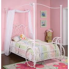 Girls White Twin Bed Bedroom Pink And White Twin Size Canopy Bed With Curtain For