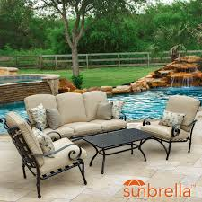elysian 4 piece patio conversation set w sofa u0026 sunbrella canvas