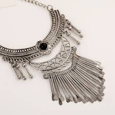 silver boho necklace images Buy multi layer necklace silver statement jpg