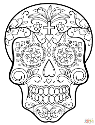 sugar skull with flowers coloring page free printable coloring pages