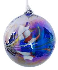 large blue handmade recycled glass friendship ornamental globe