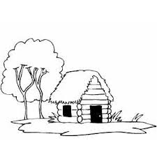 log cabin drawings cabin coloring page