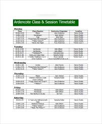 sample class timetable template 9 free documents download in