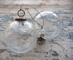 clear kugel style orb clear snowflake etched glass christmas