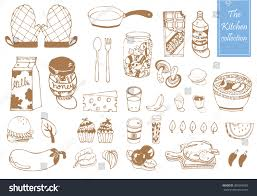 doodle item kitchen collection pattern vector stock vector