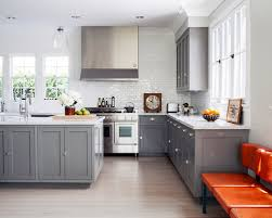 Gray Cabinets In Kitchen This UShaped Modern Kitchen Features - Gray cabinets kitchen