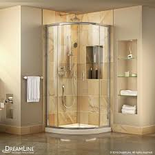 shop shower stalls kits at lowes com dreamline prime white acrylic floor round 2 piece corner shower kit actual 74 75