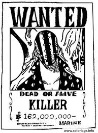 coloriage one piece wanted killer dead or alive dessin