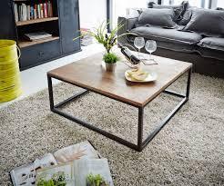 Wohnzimmer Tisch Wohnzimmertisch Tatius Sheesham Natur 80x80 Cm Gestell Metall Schwarz