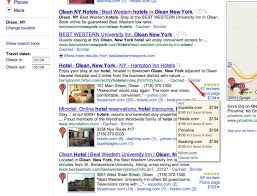 hotels in olean ny pushes hotel booking feature to the front page of serps