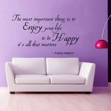 online get cheap quote audrey aliexpress com alibaba group vinyl wall decal audrey hepburn quote the most important thing is to enjoy your
