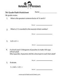 7th Grade Math Printable Worksheets Seventh 7th Grade Math Worksheets And Printable Pdf Handouts
