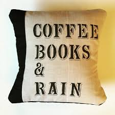 Home Decor Pillows Coffee Books And Rain Pillow Cover And Pillow Insert 15x15