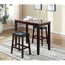 breakfast table amazon com roundhill furniture 3 piece counter height glossy