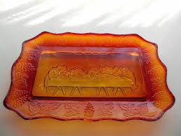 lord s supper plates tiara indiana glass sunset lord s supper bread tray trays glass