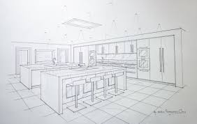 hand drawn presentation for contemporary kitchen in chelford
