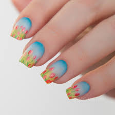 china glaze road trip spring 2015 freehand tulip nail art
