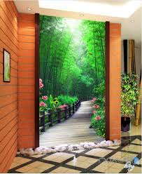 3d wall murals idecoroom 3d bamboo tree flower lane corridor entrance wall mural decals art print wallpaper 069