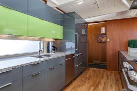 Contemporary Lime Green Kitchen Remodel In Denver - Slab kitchen cabinet doors