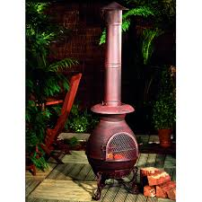 furniture clay chiminea with metal stand old time pottery for