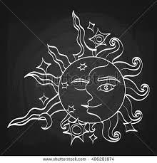 sun moon faces on blackboard background stock vector 496281874