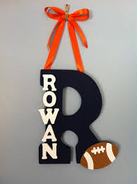Appealing Letter K Wall Decor Personalized Boy Wood Letter And Name With Ribbon Hanging