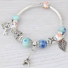 leaf charm bracelet images Fashion silver color paris leaves charm bracelets bangles beads jpg