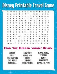 free disney word search more printable travel games for kids