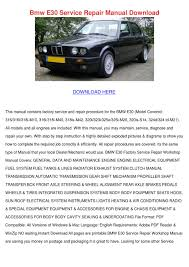 bmw e30 service repair manual download by concettacabral issuu