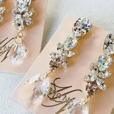 drop bridal earrings gabrielle swarovski drop bridal earrings helena noelle