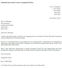 printable two week notice letter formal resignation letter sample