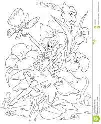 coloring thumbelina sitting flower stock vector image