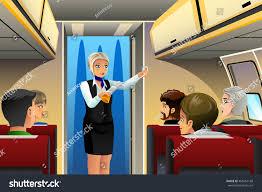 vector illustration flight attendant doing safety stock vector