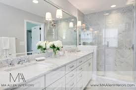 master bathroom white white cabinets with white marble countertops contemporary
