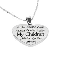 personalized family necklace personalized heart charm family necklace