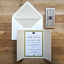 gold art deco wedding invitations