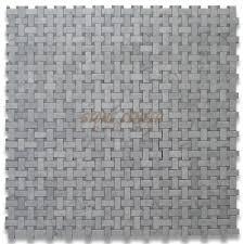 carrara white 1x2 basketweave mosaic tile w gray dots polished