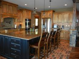 black island kitchen hickory cabinets with black island