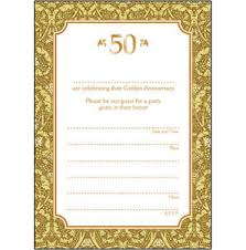 50 year wedding anniversary pack of 10 golden wedding anniversary party invitations 50 years
