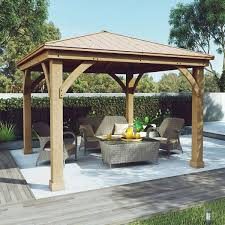 patio furniture gazebo cedar wood 12 u0027 x 12 u0027 gazebo with aluminum roof by yardistry
