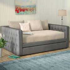 three posts scribner button tufted linen daybed with trundle