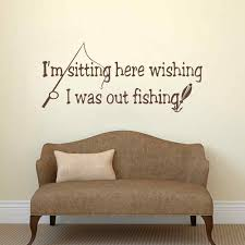 online get cheap wall quotes fish aliexpress com alibaba group fish wall decal quote i m sitting here wishing i was out fishing vinyl sticker wall art mural interior design living room decor