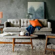 peggy mid century sofa feather grey 202 cm west elm uk
