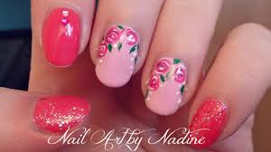 floral gel nail art tutorial youtube